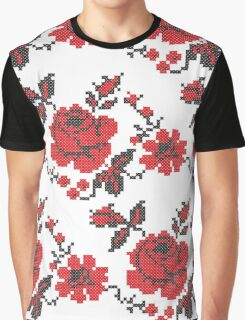 Cross-stitch folklore red rose pattern Graphic T-Shirt