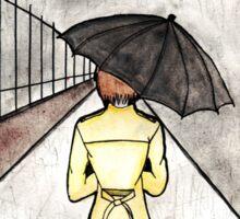 The wanderer in the rain Sticker