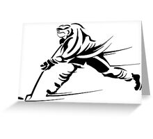 Ice hockey players silhouette Greeting Card