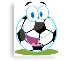 Cartoon soccer smiley ball Canvas Print