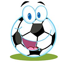 Cartoon soccer smiley ball Photographic Print