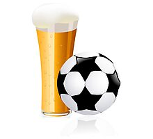 Football with beer Photographic Print