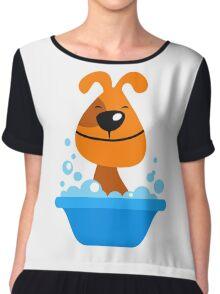 Dog bating in tub Women's Chiffon Top