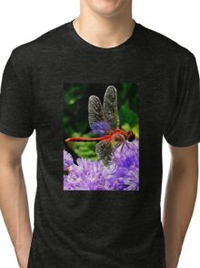 Red Dragonfly on Violet Purple Flowers Tri-blend T-Shirt