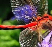 Red Dragonfly on Violet Purple Flowers Sticker
