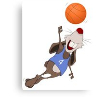 Funny rat with basketball Canvas Print