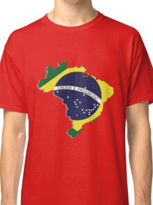 Brazil map rippled flag on abstract background Classic T-Shirt