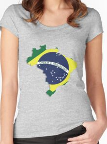 Brazil map rippled flag on abstract background Women's Fitted Scoop T-Shirt