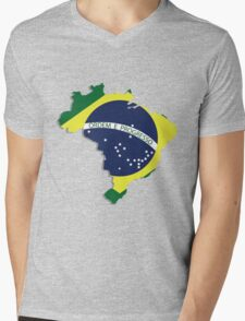 Brazil map rippled flag on abstract background Mens V-Neck T-Shirt