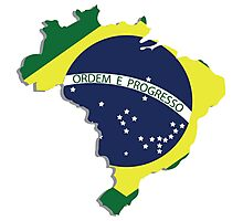 Brazil map rippled flag on abstract background Photographic Print