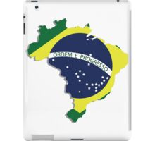 Brazil map rippled flag on abstract background iPad Case/Skin