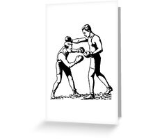 Olde time boxers classic boxing stances punching Greeting Card