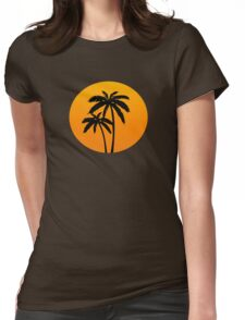 Palm Trees Sunset Womens Fitted T-Shirt