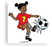 Girl playing soccer Canvas Print