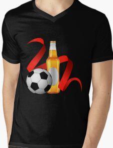 Beer with football design Mens V-Neck T-Shirt