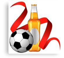Beer with football design Canvas Print
