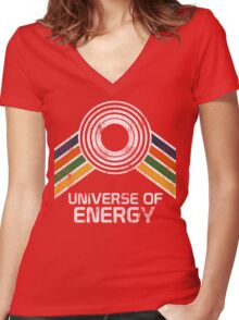 Universe of Energy Logo in Vintage Distressed Style Women's Fitted V-Neck T-Shirt