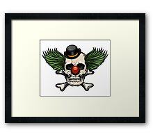 Scary evil clown skull with bowler hat Framed Print