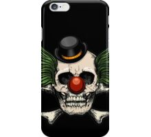 Scary evil clown skull with bowler hat iPhone Case/Skin