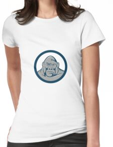 Angry Gorilla Head Circle Cartoon Womens Fitted T-Shirt