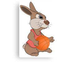 Funny rabbit with basketball Canvas Print