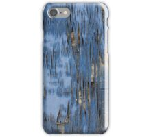 Old Weathered Wood Wall Blue Peeling Paint iPhone Case/Skin