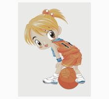 Basketball cartoon girl character Kids Tee