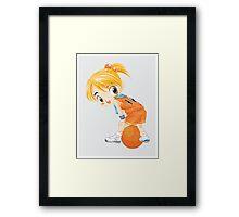 Basketball cartoon girl character Framed Print