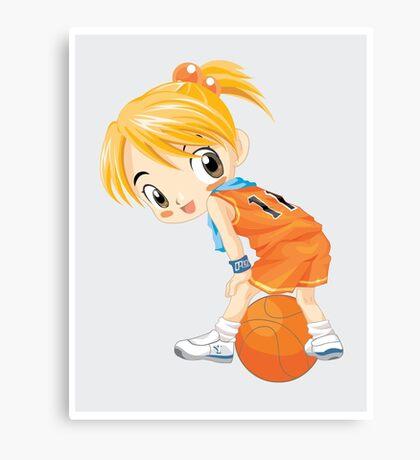 Basketball cartoon girl character Canvas Print