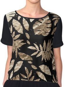 Gold Leaves Pattern Golden tropical on Black Chiffon Top