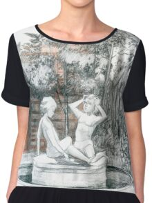 the city fountain with figurines of girls  Chiffon Top