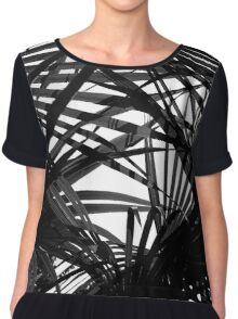 Light in Palm leaves Black and White Pattern Chiffon Top