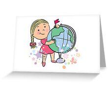 Sports girl globe cartoon Greeting Card