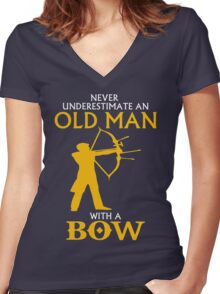 AN OLD MAN WITH BOW Women's Fitted V-Neck T-Shirt