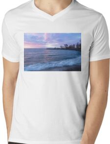 Soft and Rough - Colorful Dawn on the Lakeshore Mens V-Neck T-Shirt
