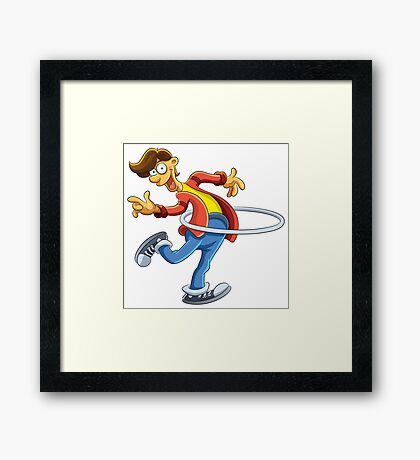Cartoon boy playing with ring Framed Print