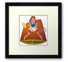 Funny cartoon tennis sporting design Framed Print