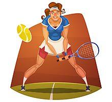 Funny cartoon tennis sporting design Photographic Print