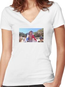 Cute boy at beach (GONE VIDEO GAME!) NINTENDO 64 Women's Fitted V-Neck T-Shirt