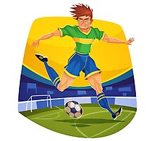 Funny cartoon football sporting design Photographic Print