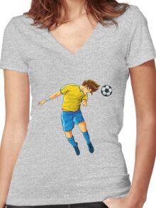 Soccer head shot goal Women's Fitted V-Neck T-Shirt