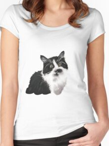 Hand drawn brown cat Women's Fitted Scoop T-Shirt