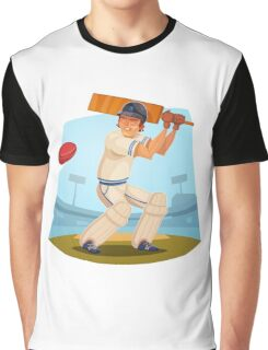 Funny cartoon cricket sporting design Graphic T-Shirt