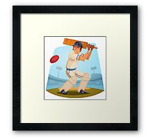 Funny cartoon cricket sporting design Framed Print
