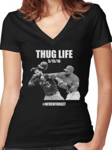 Thug Life 1 Women's Fitted V-Neck T-Shirt