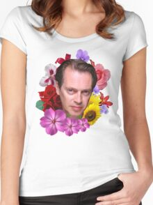 Steve Buscemi - Floral Women's Fitted Scoop T-Shirt