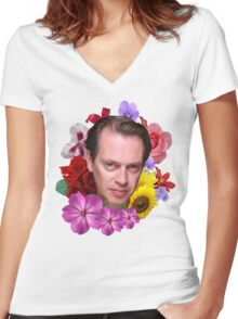 Steve Buscemi - Floral Women's Fitted V-Neck T-Shirt