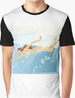 Swimming bikini girl Graphic T-Shirt