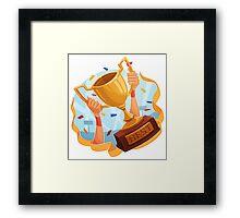 Funny cartoon sporting trophy design Framed Print