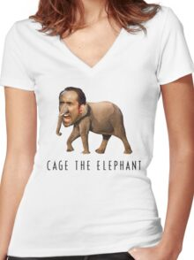 Nicolas Cage The Elephant Women's Fitted V-Neck T-Shirt